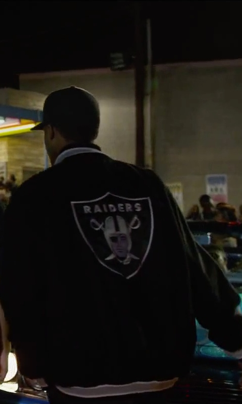 Corey Hawkins with G-III Sports Oakland Raiders Black Contender Wool Jacket in Straight Outta Compton