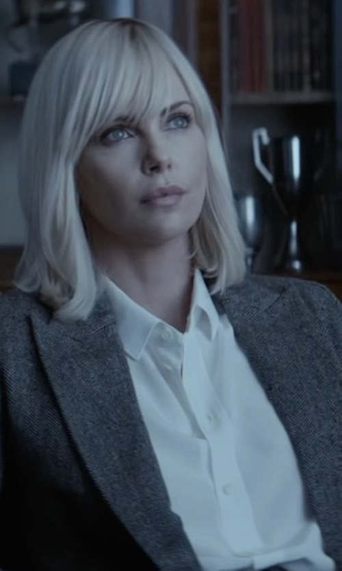 Charlize Theron with York Street Perfect Boyfriend Button Up Shirt in Atomic Blonde