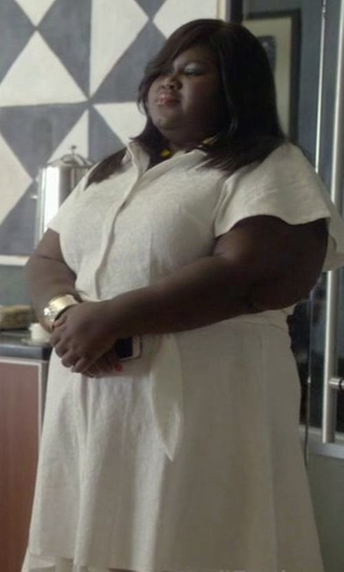Gabourey Sidibe with Christian Siriano For Lane Bryant White Shirtdress in Empire