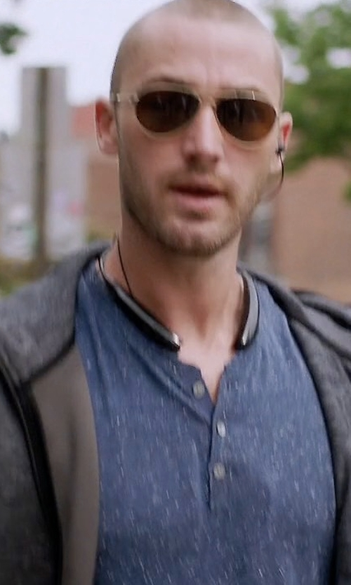 Jake McLaughlin with John Varvatos Star USA Melange Zip-Front Linen Hoodie in Quantico