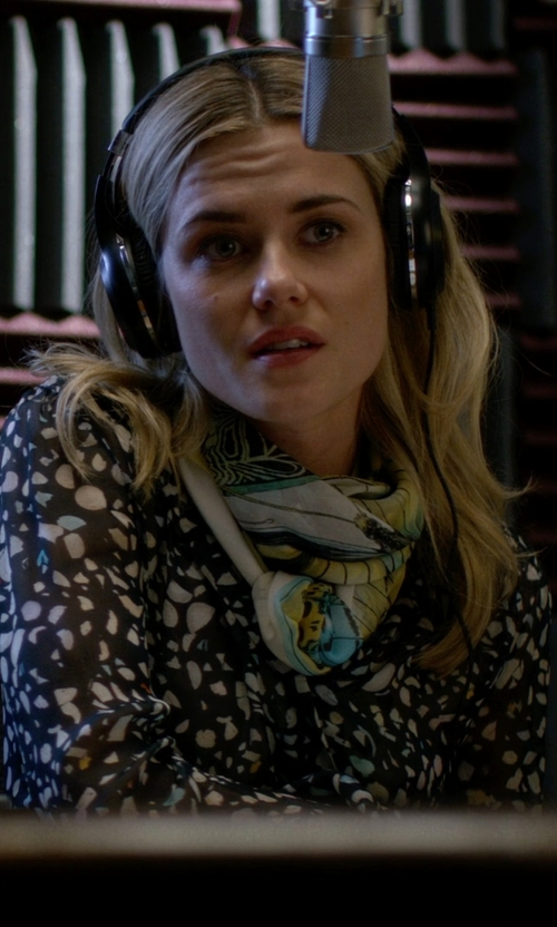 Rachael Taylor with TWO by Vince Camuto Floating Stars Y-Neck Swing Blouse in Jessica Jones