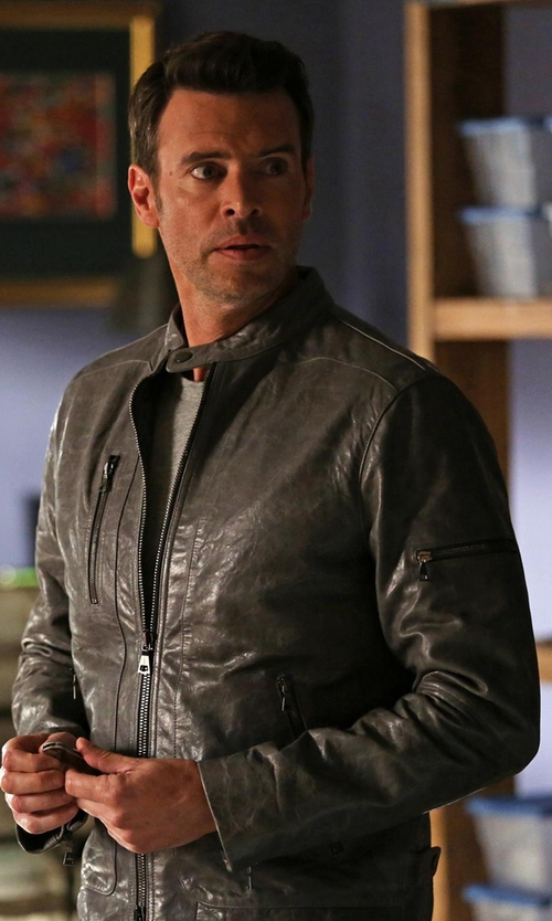 Scott Foley with John Varvatos Leather Zip Jacket in Scandal