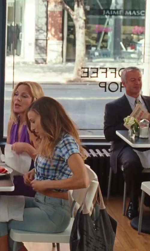 Sarah Jessica Parker with Shelly Steffee Printed Satchel Bag in Sex and the City 2