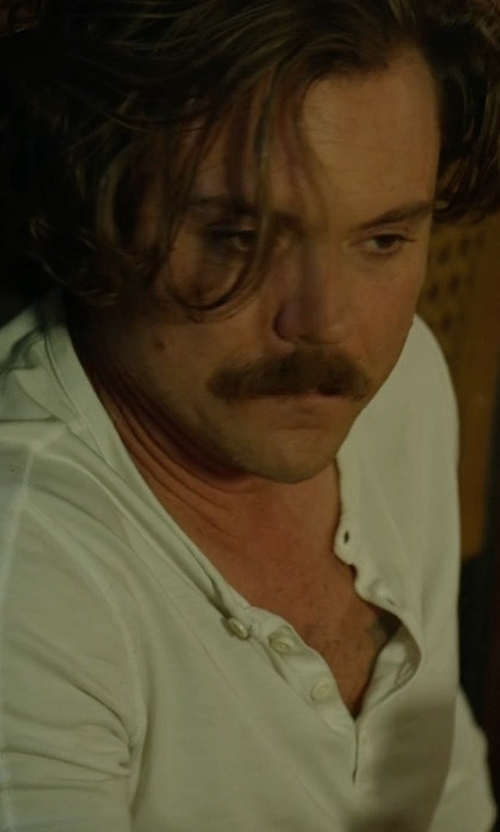 Clayne Crawford with Splendid Mills Henley Long-Sleeve Tee in Lethal Weapon