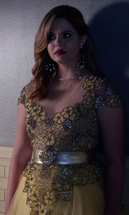 Sasha Pieterse with Tarik Ediz Breathtaking A-Line Dress in Pretty Little Liars