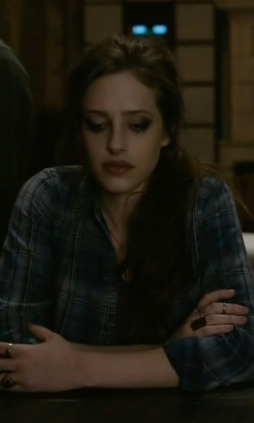 Carly Chaikin with Current/Elliott The Workwear Slim Boy Shirt in Mr. Robot