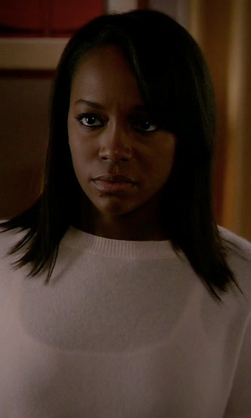 Aja Naomi King with Michael Kors Jewel-Neck Sweater in How To Get Away With Murder
