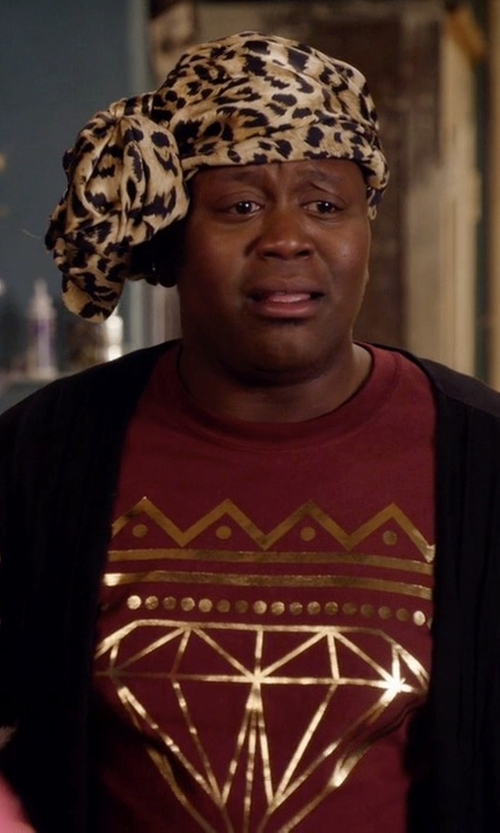 Tituss Burgess with Aqua Animal Print Scarf in Unbreakable Kimmy Schmidt