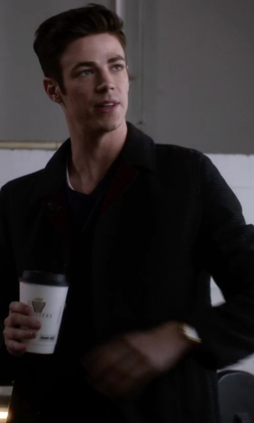 Grant Gustin with Calvin Klein Plaza Solid Single-Breasted Overcoat in The Flash