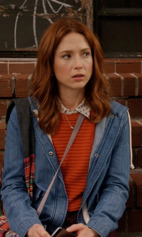 Ellie Kemper with Forever 21 Contemporary Life In Progress Frayed Denim Jacket in Unbreakable Kimmy Schmidt