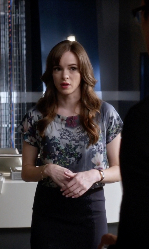 Danielle Panabaker with Pyrus Floral Blouse in The Flash