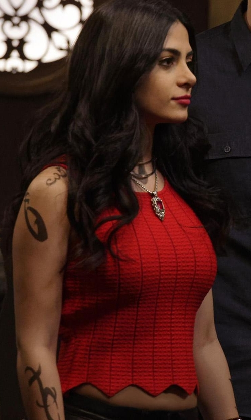Emeraude Toubia with Jonathan Simkhai Pointelle Scallop Tank Top in Shadowhunters