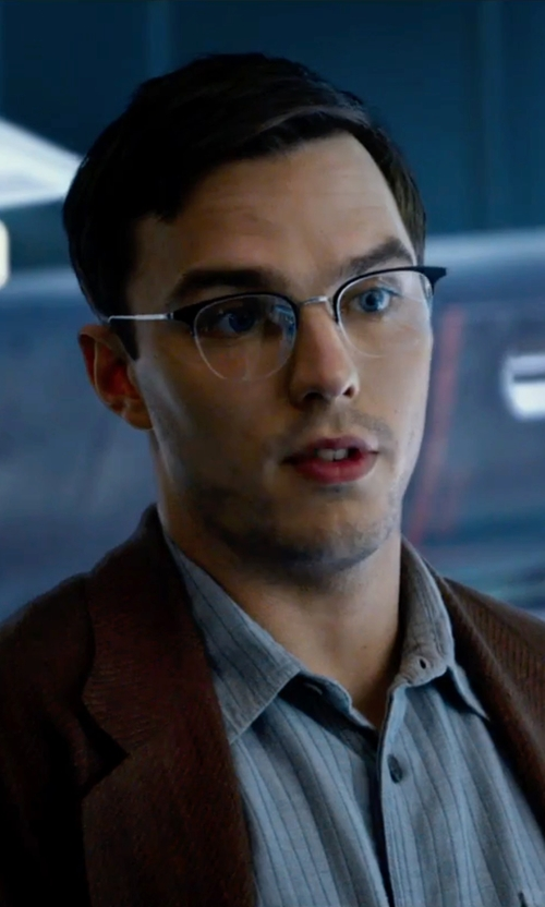 Nicholas Hoult with Tom Ford Shiny Metal Square Eyeglasses in X-Men: Apocalypse