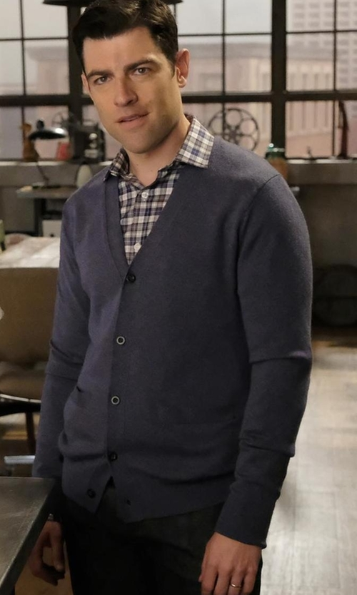 Max Greenfield with Vince Textured Wool-Cashmere Cardigan, Navy in New Girl