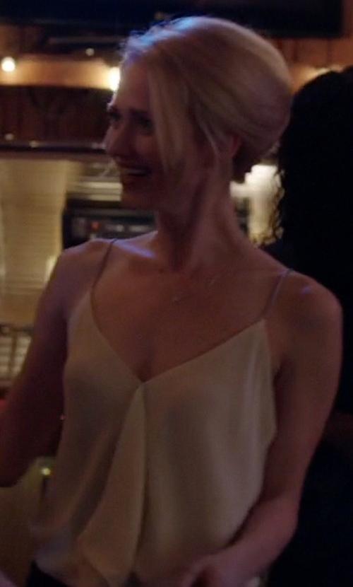 Johanna Braddy with Rachel Rachel Roy Sleeveless Chain-Detail Blouse in Quantico