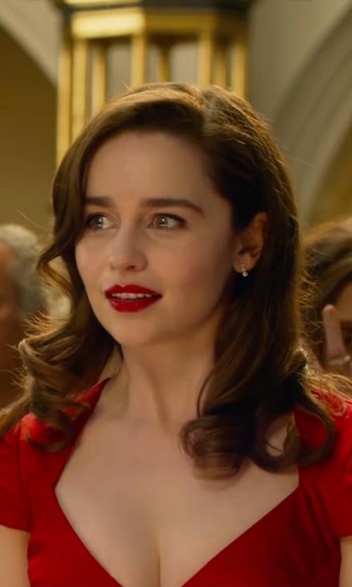 Emilia Clarke with Bond Street Three Tier Earrings in Me Before You