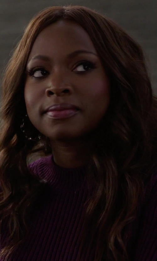 Naturi Naughton with Dunedin Cashmere Cable Knit Crew Neck Cosy Sweater in Power