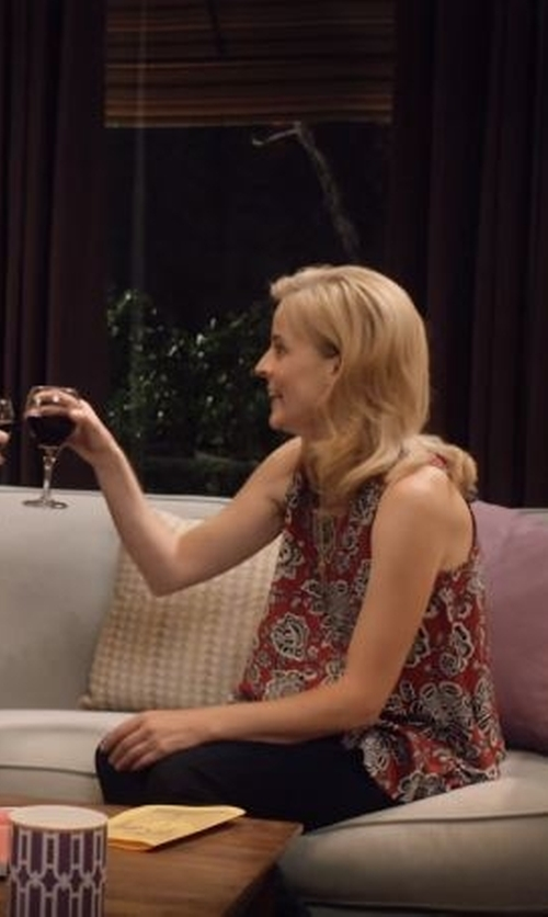 Maria Bamford with Vince Camuto Floral Print Square Neck Tank Top in Lady Dynamite
