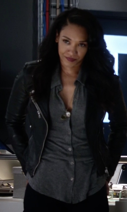 Candice Patton with Mackage Rumer Jacket in The Flash