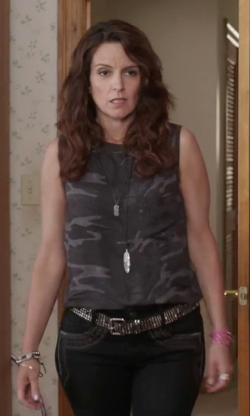 Tina Fey with Maurices Faux Feather and Rhimestone Necklace in Sisters