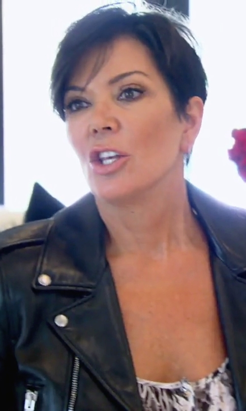 Kris Jenner with Saint Laurent Leather Biker Jacket in Keeping Up With The Kardashians