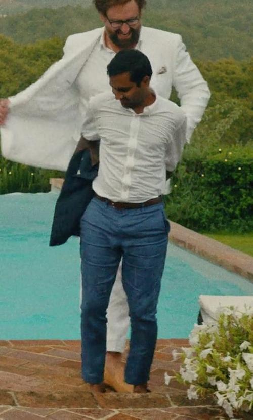 Aziz Ansari with Stella McCartney Straight-Leg Cotton-Gabardine Chino Trousers in Master of None
