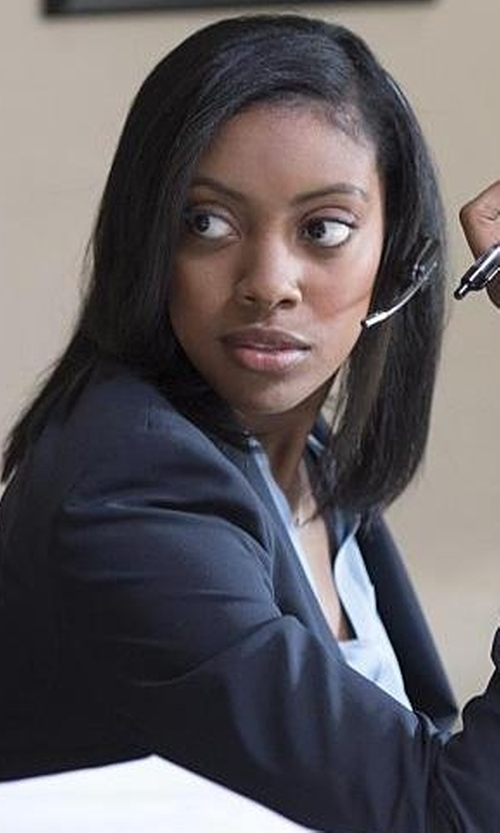 Condola Rashad with Theory Elkaey Stretch-Wool Blazer in Billions