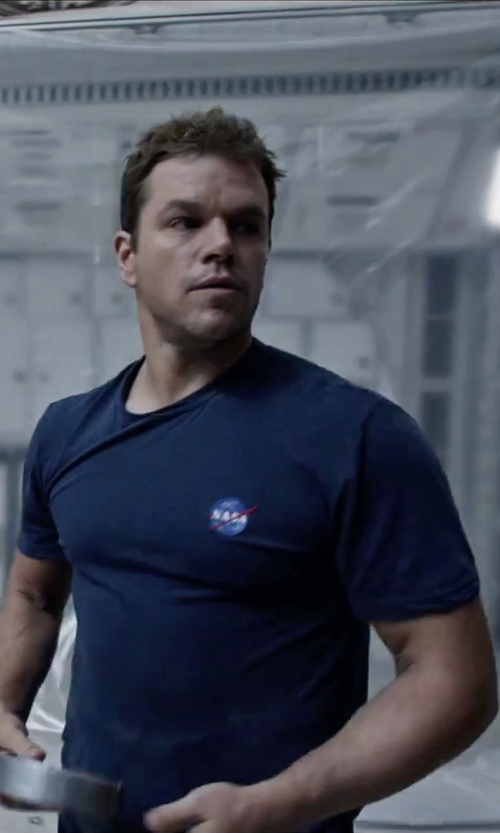 Matt Damon with Spiffy Custom Gifts NASA Worm Logo Embroidered T-Shirt in The Martian