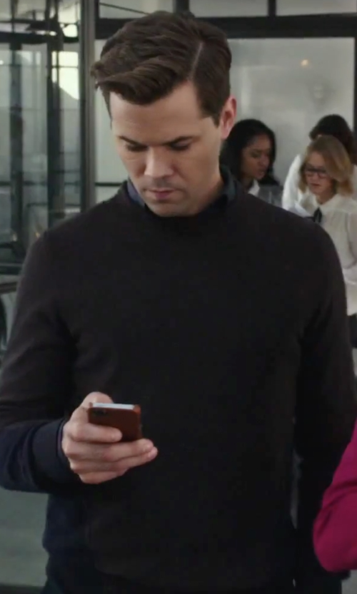 Andrew Rannells with Manipur Crew Neck Sweater in The Intern