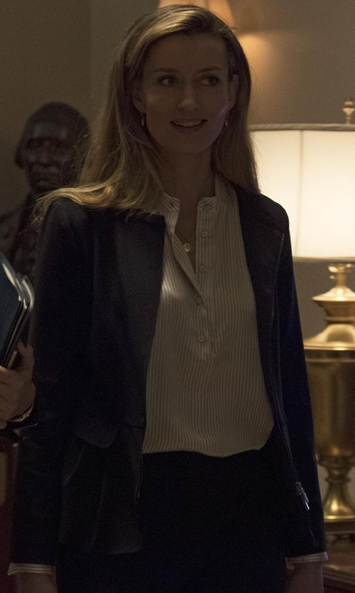 Natascha McElhone with Escada Lace-Pocket Zip-Front Jacket in Designated Survivor