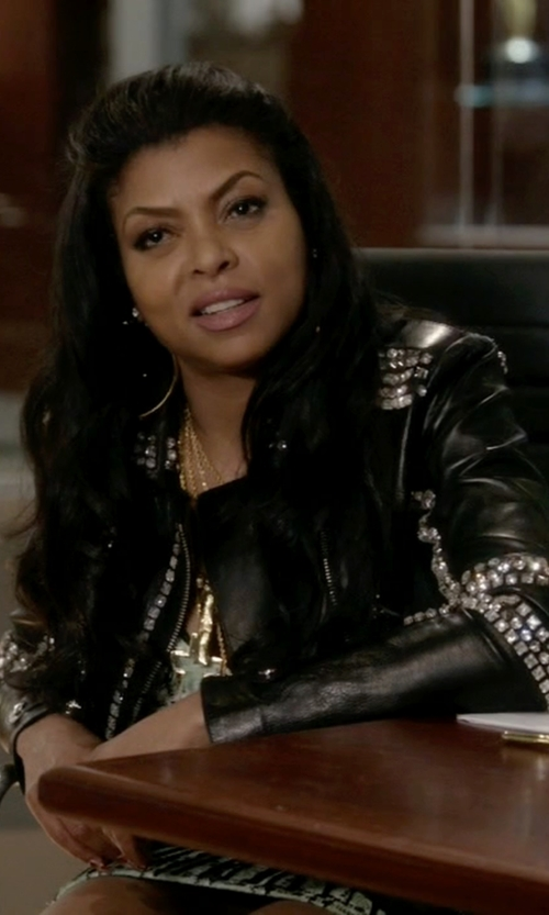 Taraji P. Henson with French Connection Chaos Leather Studded Biker Jacket in Empire