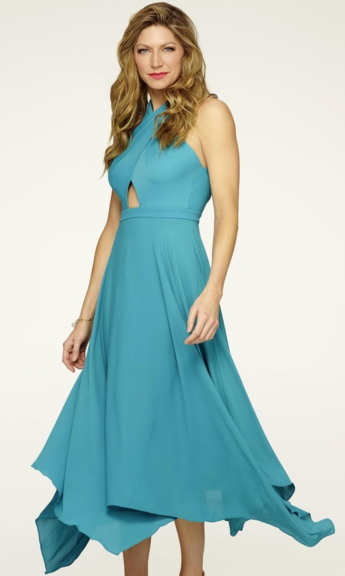 Jes Macallan with BCBGMAXAZRIA Crisscross Halter Neck Dress in Mistresses
