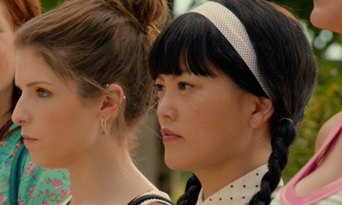 Hana Mae Lee with BCBG Blue & Yellow Circle Earrings in Pitch Perfect 2