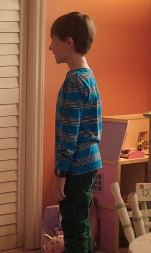 Kyle Catlett with Mini Boden Stripe T-Shirt in Poltergeist