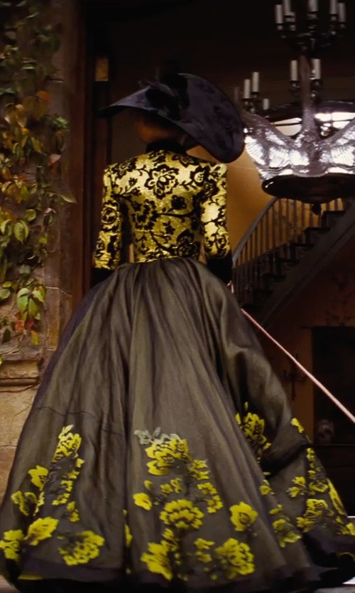 Cate Blanchett with Sandy Powell (Costume Designer) Gold Lam Bodice with Black Florals in Cinderella