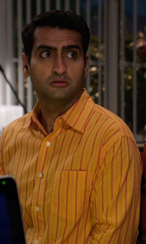 Kumail Nanjiani with Brian Dales Stripe Shirt in Silicon Valley