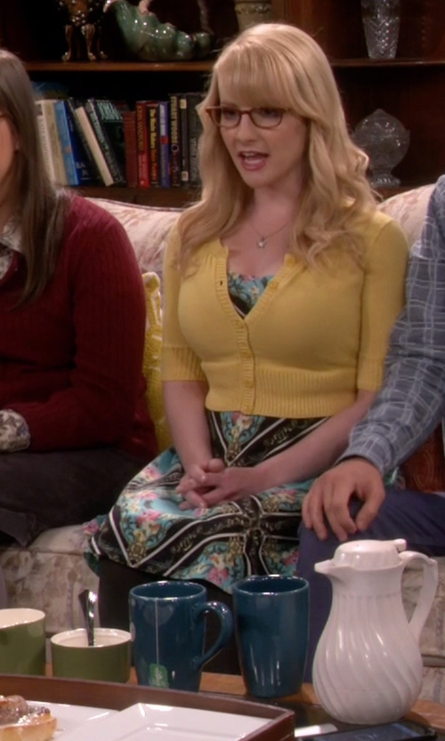 Melissa Rauch with Donna Morgan Floral Sleeveless Fit-and-Flare Dress in The Big Bang Theory