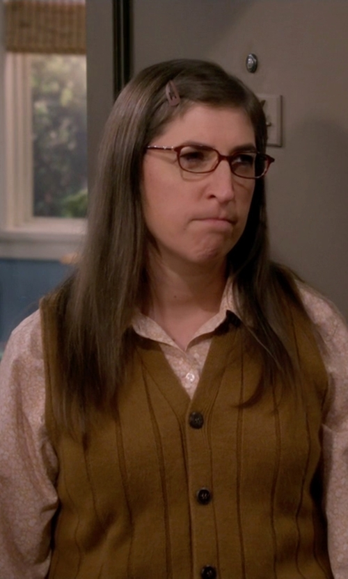 Mayim Bialik with American Apparel Knit Cropped Dot Vest in The Big Bang Theory