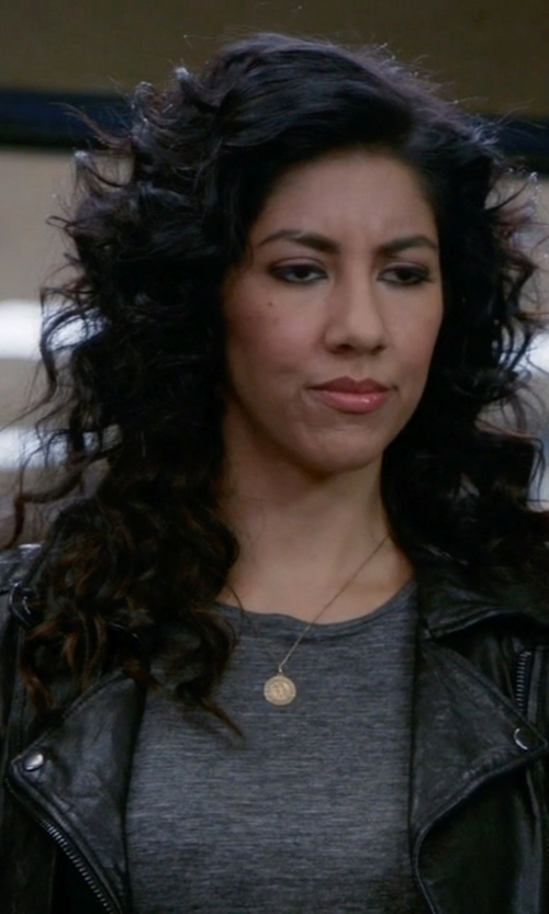 Stephanie Beatriz with T By Alexander Wang Heather Linen Jersey Tee in Brooklyn Nine-Nine
