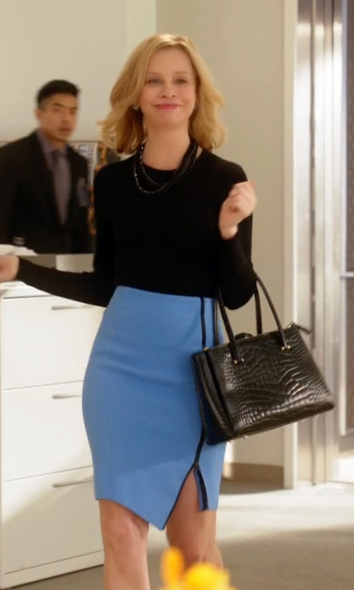 Calista Flockhart with Amanda Uprichard Kara Pencil Skirt    in Supergirl