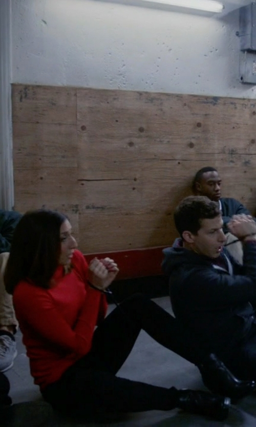Chelsea Peretti with Circus By Sam Edelman Deacon Stacked Heel Ankle Booties in Brooklyn Nine-Nine