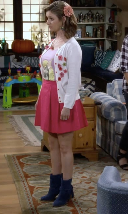 Andrea Barber with Eileen Fisher Peer Suede Ankle Boots in Fuller House