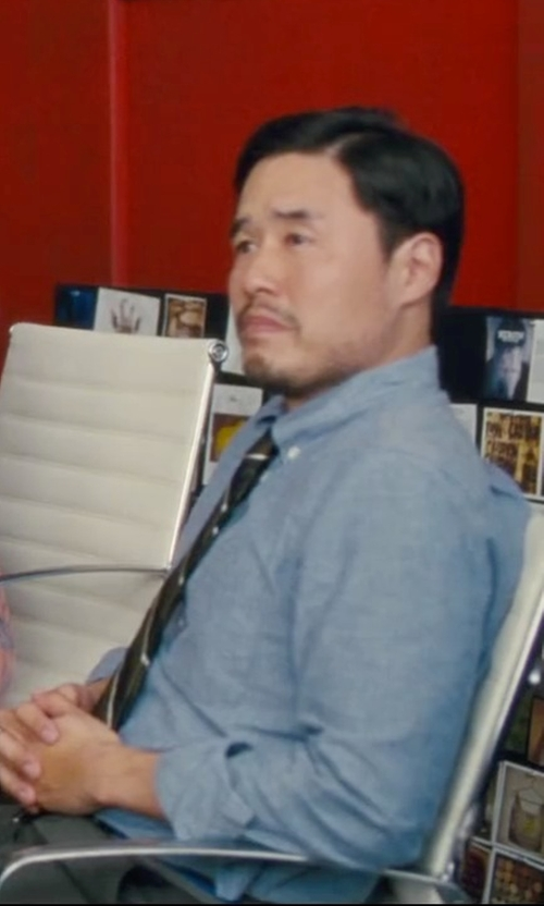 Randall Park with Ralph Lauren Striped Silk Repp Tie in Trainwreck