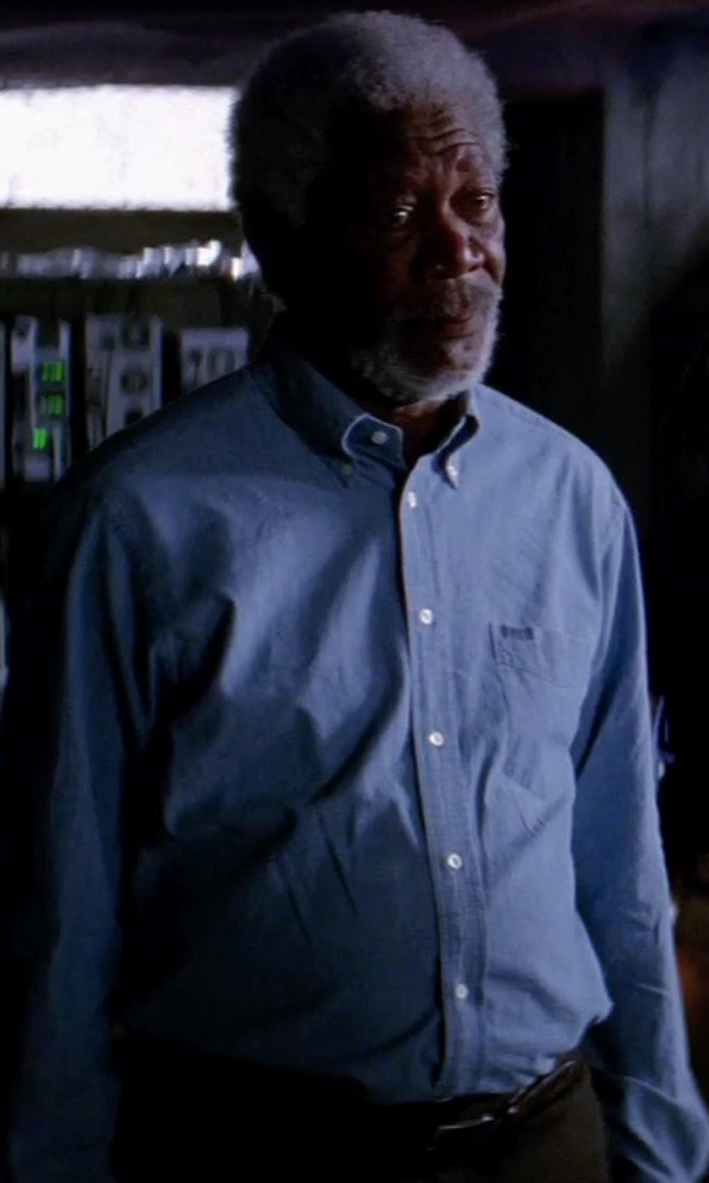 Morgan Freeman with TOVAR REZNOR SHIRT in Transcendence