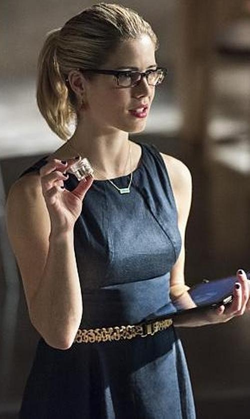 Emily Bett Rickards with Zara Flared Denim Dress in Arrow