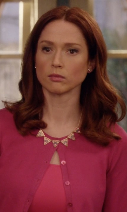 Ellie Kemper with House Of Harlow 1960 Statement Necklace With Small Triangle Accents in Unbreakable Kimmy Schmidt