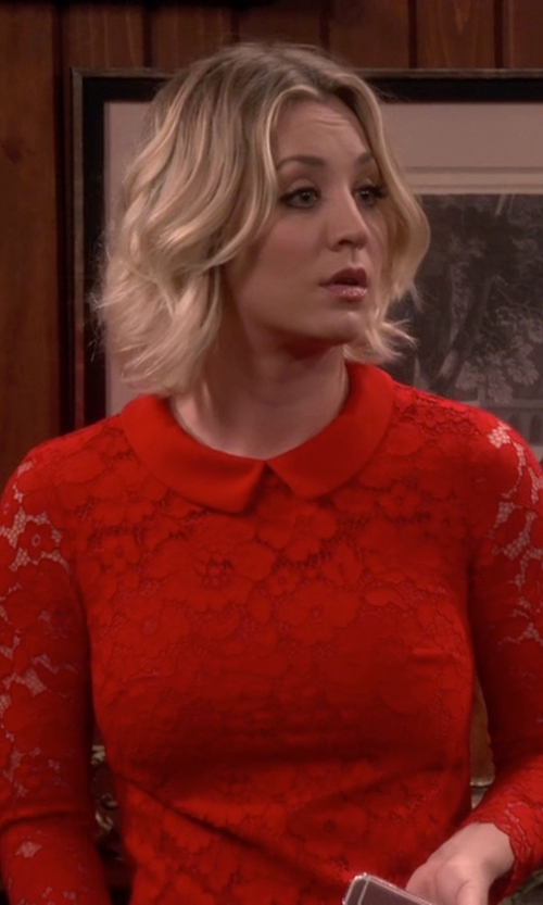 Kaley Cuoco-Sweeting with Ted Baker Ameera Scallop Hem Lace Dress in The Big Bang Theory