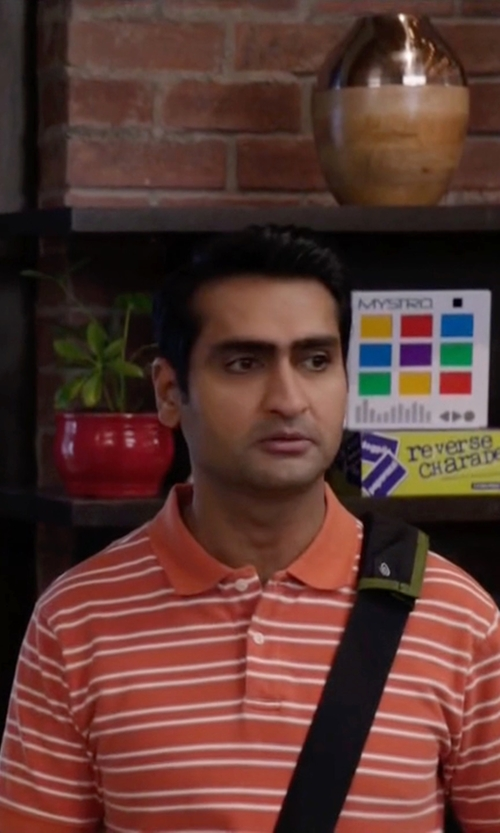 Kumail Nanjiani with Polo Ralph Lauren Classic-Fit Striped Mesh Polo Shirt in Silicon Valley