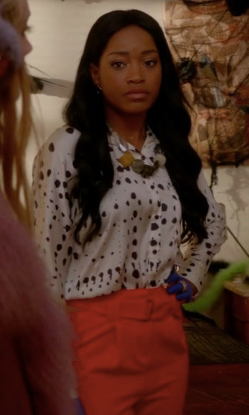 Keke Palmer with Rag & Bone Audrey Cropped Stretch Pants in Scream Queens