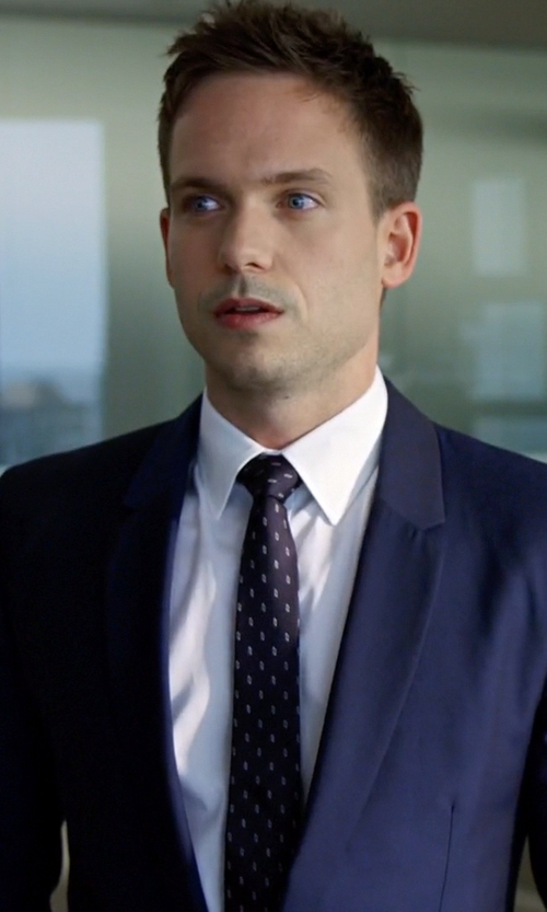 Patrick J. Adams with Brioni Super 150s Micro-Check Two-Piece Suit in Suits